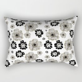 Black and White Floral Pattern Rectangular Pillow