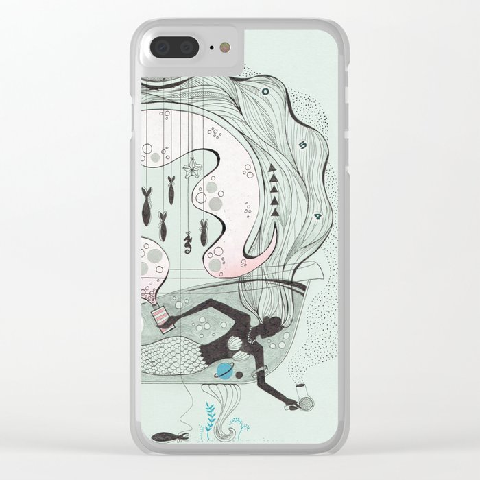 Mermaid In A Bathtub. Clear IPhone Case