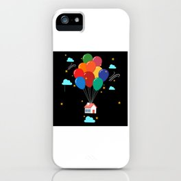 Flying House With Colorful Balloons Motif iPhone Case