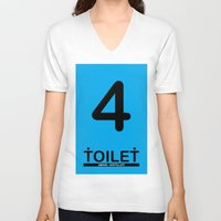 toilet V-neck T-shirts featuring TOILET CLUB #4 by Toilet Club