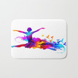 Colorful ballet dancer with flying birds Bath Mat