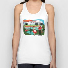 Happy Campers Vintage Travel Trailers, Caravans, Campers and Glamping Art Unisex Tank Top