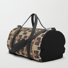Runic Carved Wood Effect Tribal Pattern Duffle Bag