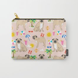 Pug beach dog breed pet art summer tropical vacation pugs gifts Carry-All Pouch