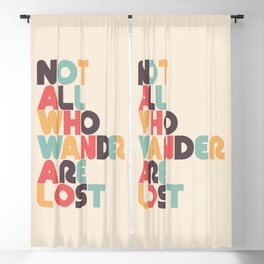 Retro Not All Who Wander Are Lost Typography Blackout Curtain