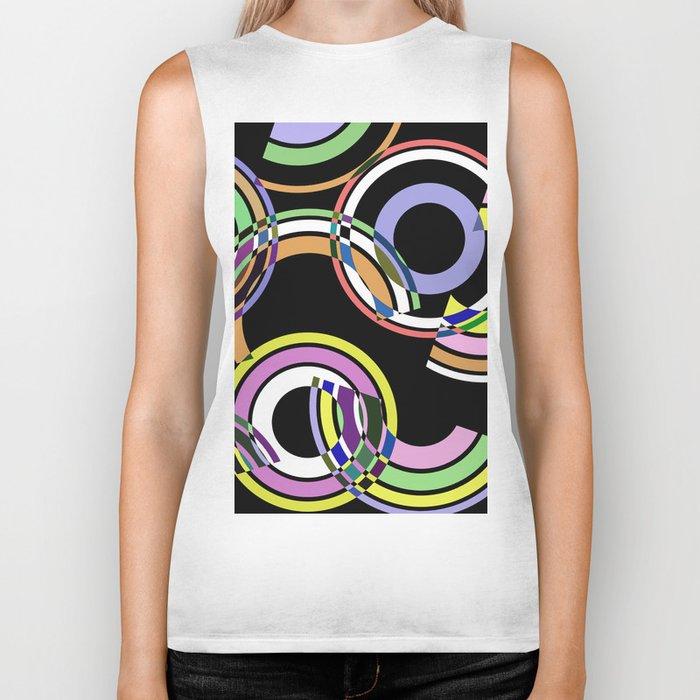 Retro 5 - Rings And Rainbows, abstract, pastel, geometric, artwork Biker Tank