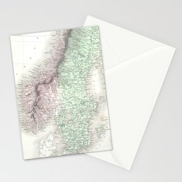 Vintage Map of Norway and Sweden (1851) Stationery Cards