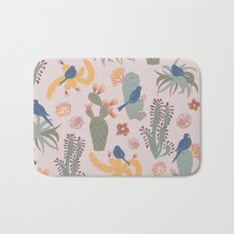 Blooming Desert Life with Birds, Cactus and Succulents Bath Mat