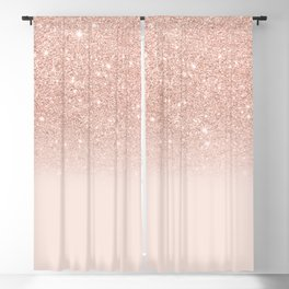 Rose gold faux glitter pink ombre color block Blackout Curtain