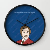 anchorman Wall Clocks featuring Ron Burgundy Anchorman  by Sheena White for Winsome Gallery