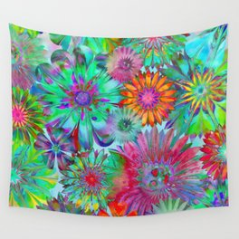 Rivalry of Flowers - multicolor Wall Tapestry