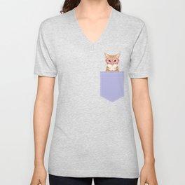 Mackenzie - Orange Tabby Cute Hipster Glasses Kitten Lavender Pastel Girly Retro Cat Art cell phone Unisex V-Neck