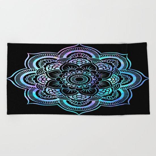 Mandala Pink Lavender Aqua galaxy space Beach Towel