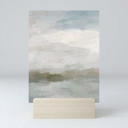 Gray Blue Sage Green Sunrise Abstract Nature Ocean Painting Art Print Wall Decor  Mini Art Print