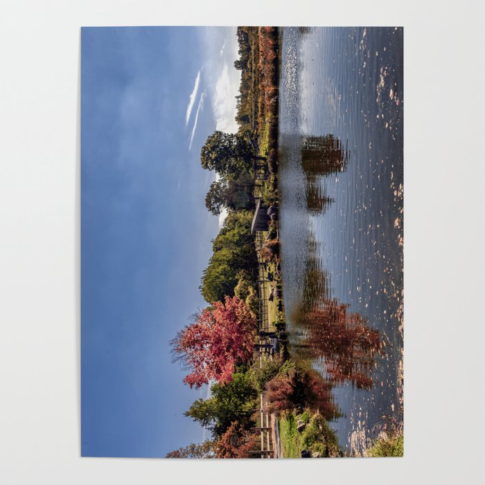 Fall reflections at Russell Orchards Poster