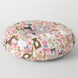 Pitbull florals mixed coats pibble gifts dog breed must have pitbulls florals Floor Pillow