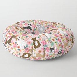 Pitbull florals mixed coats pibble gifts dog breed must have pitbulls florals Floor Pillow