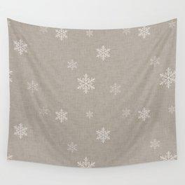 Snow Flakes pattern Beige #homedecor #nurserydecor Wall Tapestry