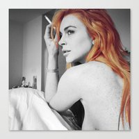 lindsay lohan Canvas Prints featuring Lindsay Lohan by Katieb1013