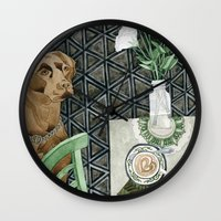 labrador Wall Clocks featuring Geometry Labrador by Yuliya