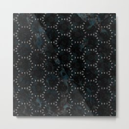 Abstract Blue Black Marble Hexagon Design Metal Print