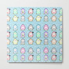 Rainbow Penguins Metal Print