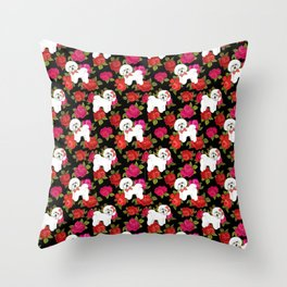 Bichon Frise dogs red rose floral for dog lovers Throw Pillow