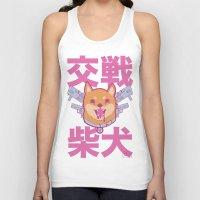 shiba inu Tank Tops featuring Battle Shiba Inu by ChangBaby