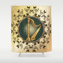 Golden harp Shower Curtain
