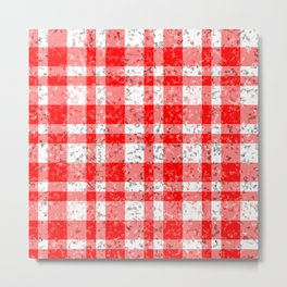 Red White Patchy Marble Tartan Pattern Metal Print