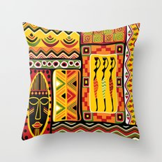 African Ornamental Pattern Throw Pillow