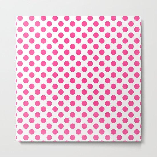 Pink polkadots dots circles on white background Metal Print