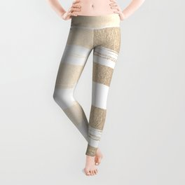White Gold Sands Painted Thick Stripes Leggings