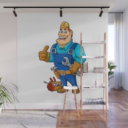 Handyman with wrench and tool box Wall Mural