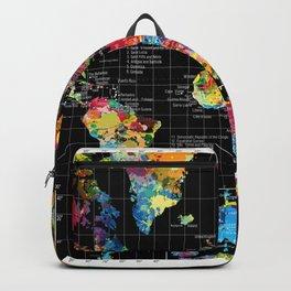 World Map Black - 1 Backpack