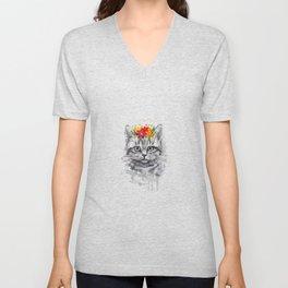 Cat Floral T-shirt, Cat Tee, Short Sleeve Cute Cat Shirt Unisex V-Neck