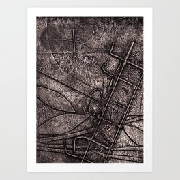 Riverbed of Leaves Collagraph/collograph/Printmaking Art Print