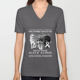 lung cancer wolf you'll never walk alone Unisex V-Neck