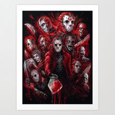 Jason Voorhees Friday the 13th Many faces of  Art Print