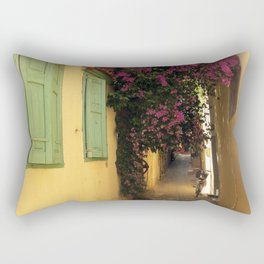narrow cute street in greece Rectangular Pillow