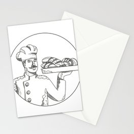 Baker Holding Bread on Plate Doodle Art Stationery Cards