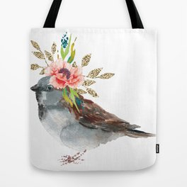 Boho Chic wild bird With Flower Crown Tote Bag
