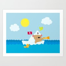 Bear in paper boat Art Print