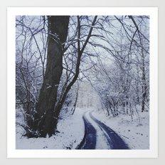 Snowy road. Art Print