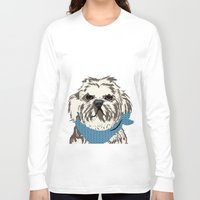 shih tzu Long Sleeve T-shirts featuring Shih Tzu Dog Art by ialbert