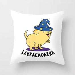 Labracadabra Cute Labrador Dog Pun Throw Pillow