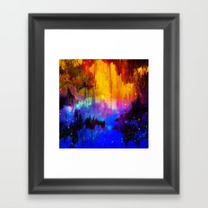 CASTLES IN THE MIST Magical Abstract Acrylic Painting Mixed Media Fantasy Cosmic Colorful Galaxy  Framed Art Print