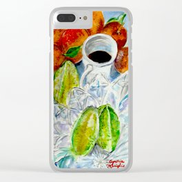 COFFEE, STAR FRUIT AND TANGERINES Clear iPhone Case