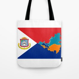 Sint Maarten Flag with Map Tote Bag