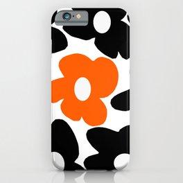 Large Orange and Black Retro Flowers White Background #decor #society6 #buyart iPhone Case